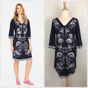 Boden Clemmie Embroidered Short Sleeve Shift Dress